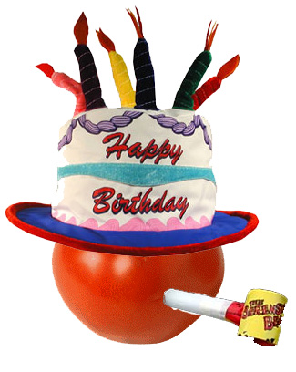 THE TOMATO IS WEARING HIS BIRTHDAY CAKE HAT!